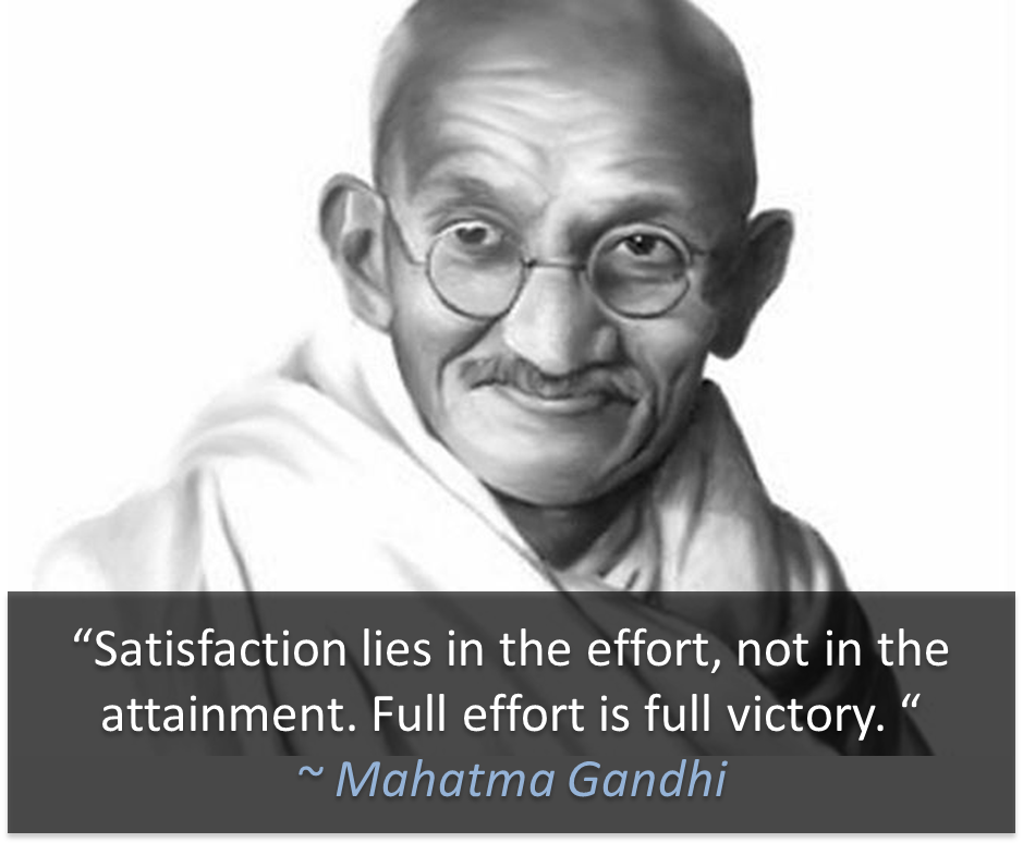 """Satisfaction lies in the effort, not the attainment. Full"