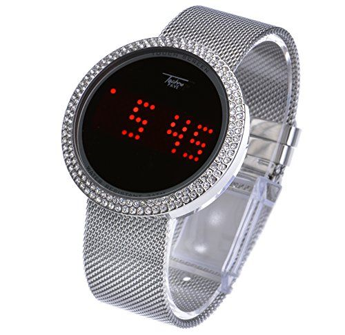 Mens Techno Pave Iced Out Digital Touch Screen Mesh Metal Band Watch