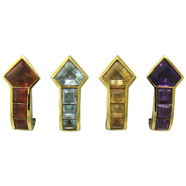 Whimsical Gemstone Gold Interchangable Earrings | From a unique collection of vintage more earrings at https://www.1stdibs.com/jewelry/earrings/more-earrings/