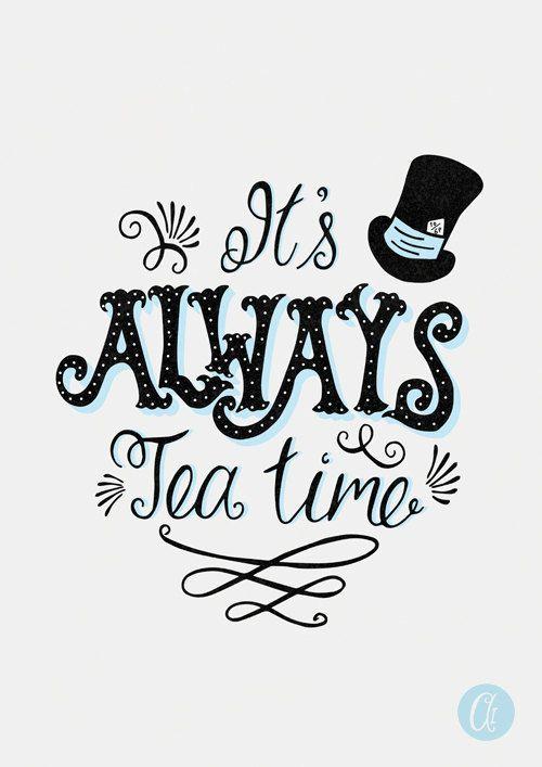 Its Always Tea Time Alice in Wonderland Print – Art Mural de cuisine