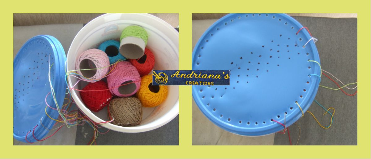 DIY plastic yarn bowl to not tangle your yarns!