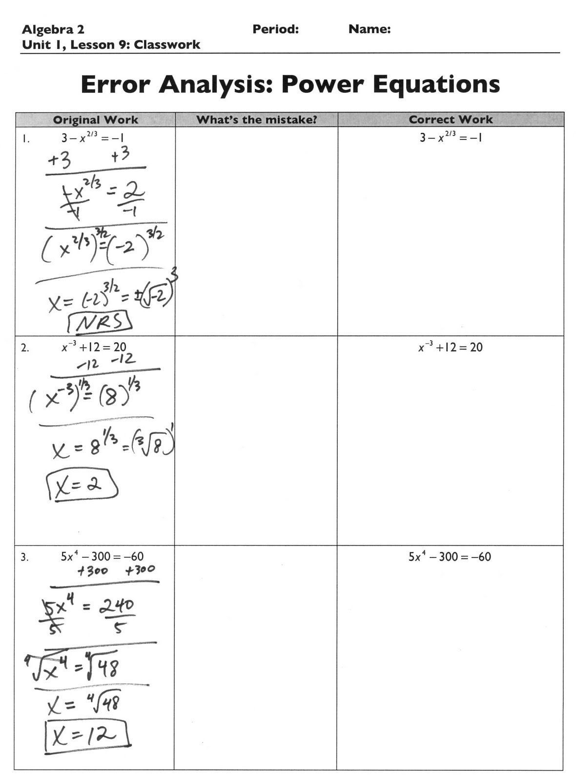 Algebra 2 Error Analysis Error Analysis Algebra 2 Teaching Algebra