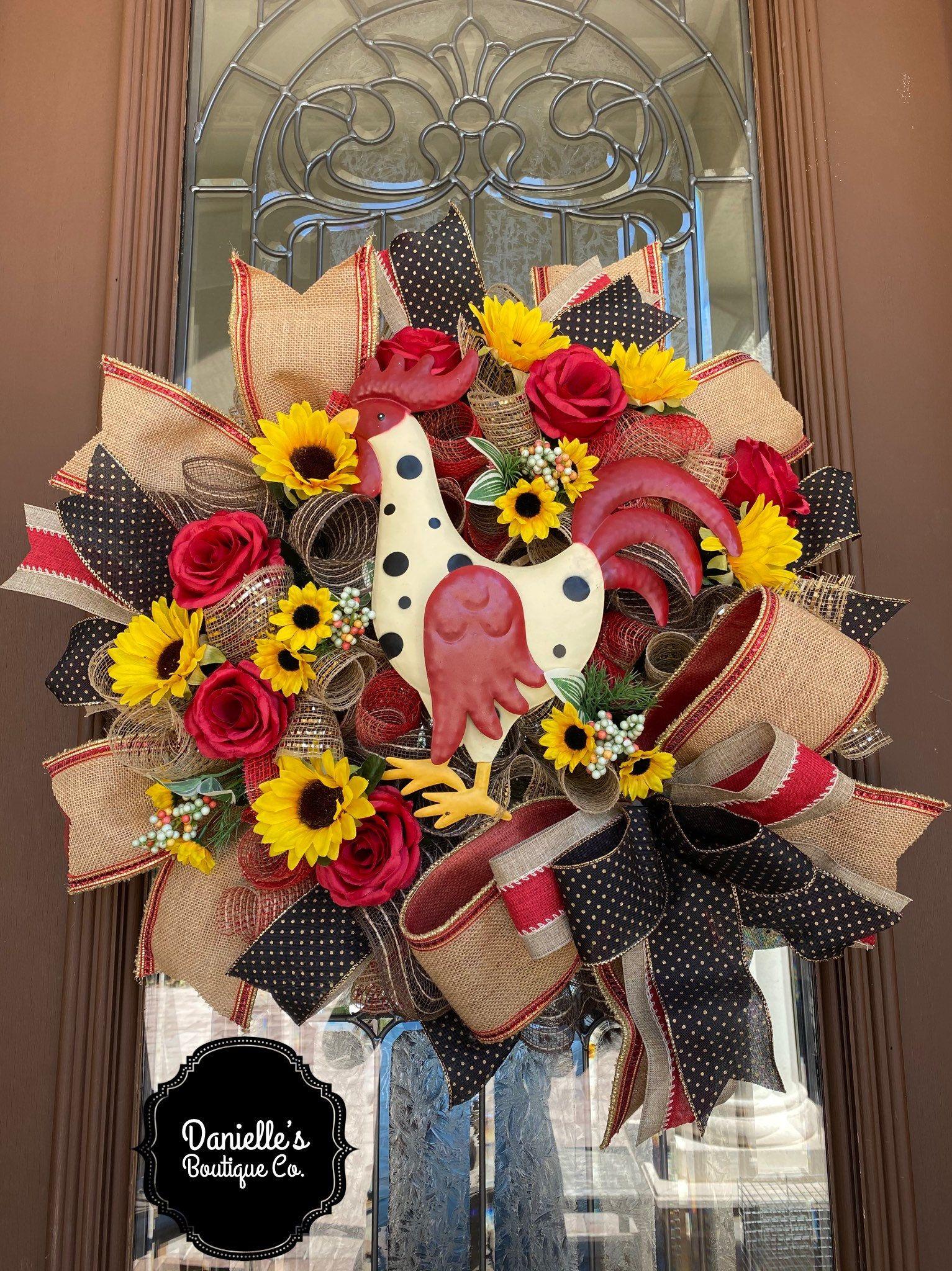 Photo of Farmhouse Wreath, Rooster Wreath, Farmhouse Decor, Rooster Decor, Sunflower Wreath, Rose Wreath, Burlap Wreath, Country Wreath, Barn Wreath