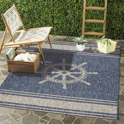 Breakwater Bay Weese Nautical Helm Navy Gray Indoor Outdoor Area Rug Indoor Outdoor Area Rugs Area Rugs Indoor Outdoor