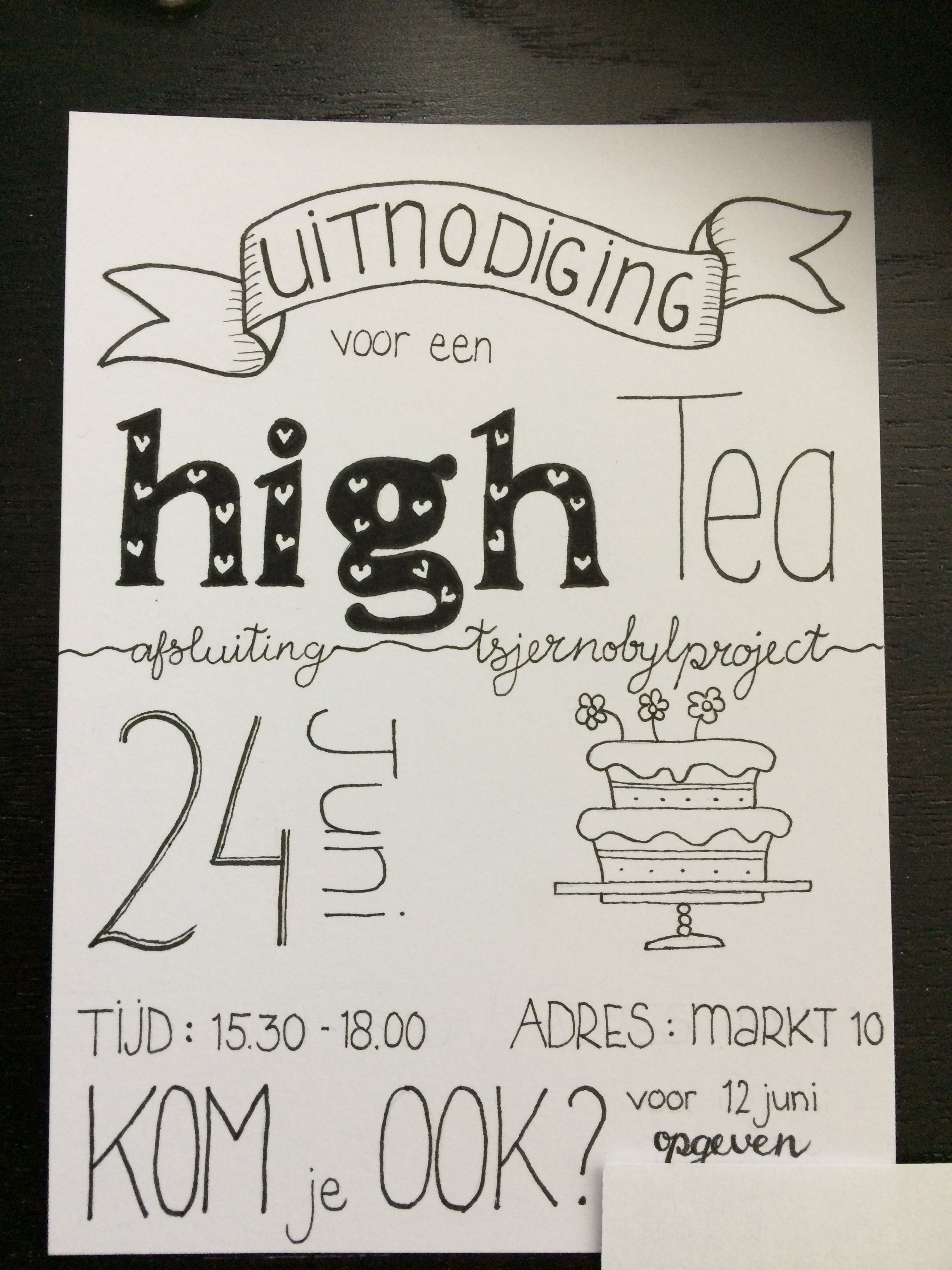 high tea uitnodiging | cato | high tea, tea, hand lettering