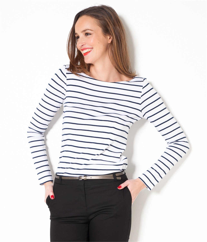 9cf0336e583 Vente T-shirt marinière femme Blanc indigo TXS - Tee shirt Camaieu. Ce t-shirt  femme à rayures est l intemporel qui revient en force dans les dressings du  ...