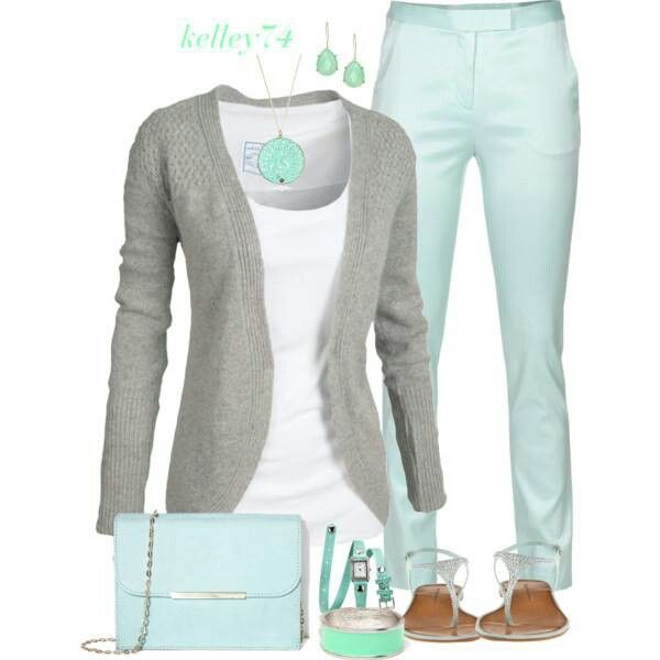 Work summer outfit - grey cardigan, mint pants, white tee