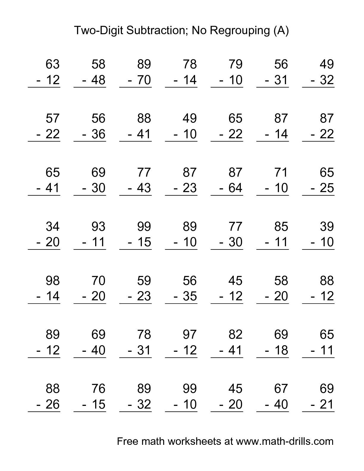 medium resolution of The Two-Digit Subtraction with No Regrouping -- 49 Questions (A) math  worksheet from the Su…   Math fact worksheets
