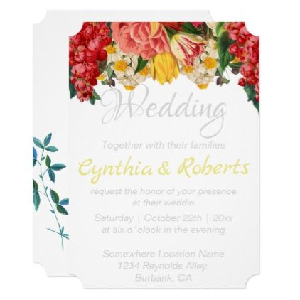Floral colorful garden wedding party invitation wedding floral garden card wedding invitations cards custom invitation card design marriage party stopboris Choice Image
