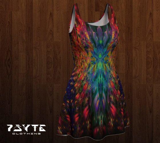 Festival dress, Reversible dress flared dress, Psychedelic dress Doof dress, Skater dress, Rainbow dress by PsyteClothing  https://www.etsy.com/au/shop/PsyteClothing