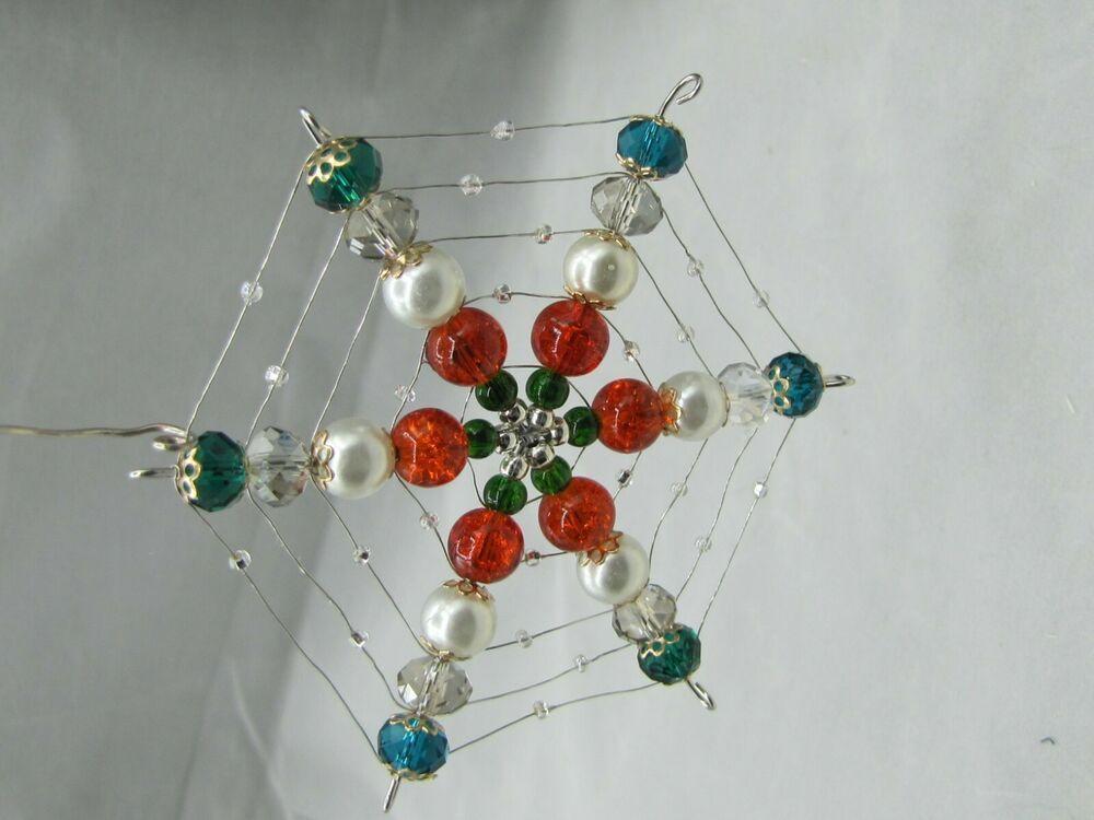 CHRISTMAS BEADED SPIDER WEB SNOWFLAKE TREE ORNAMENT # ...