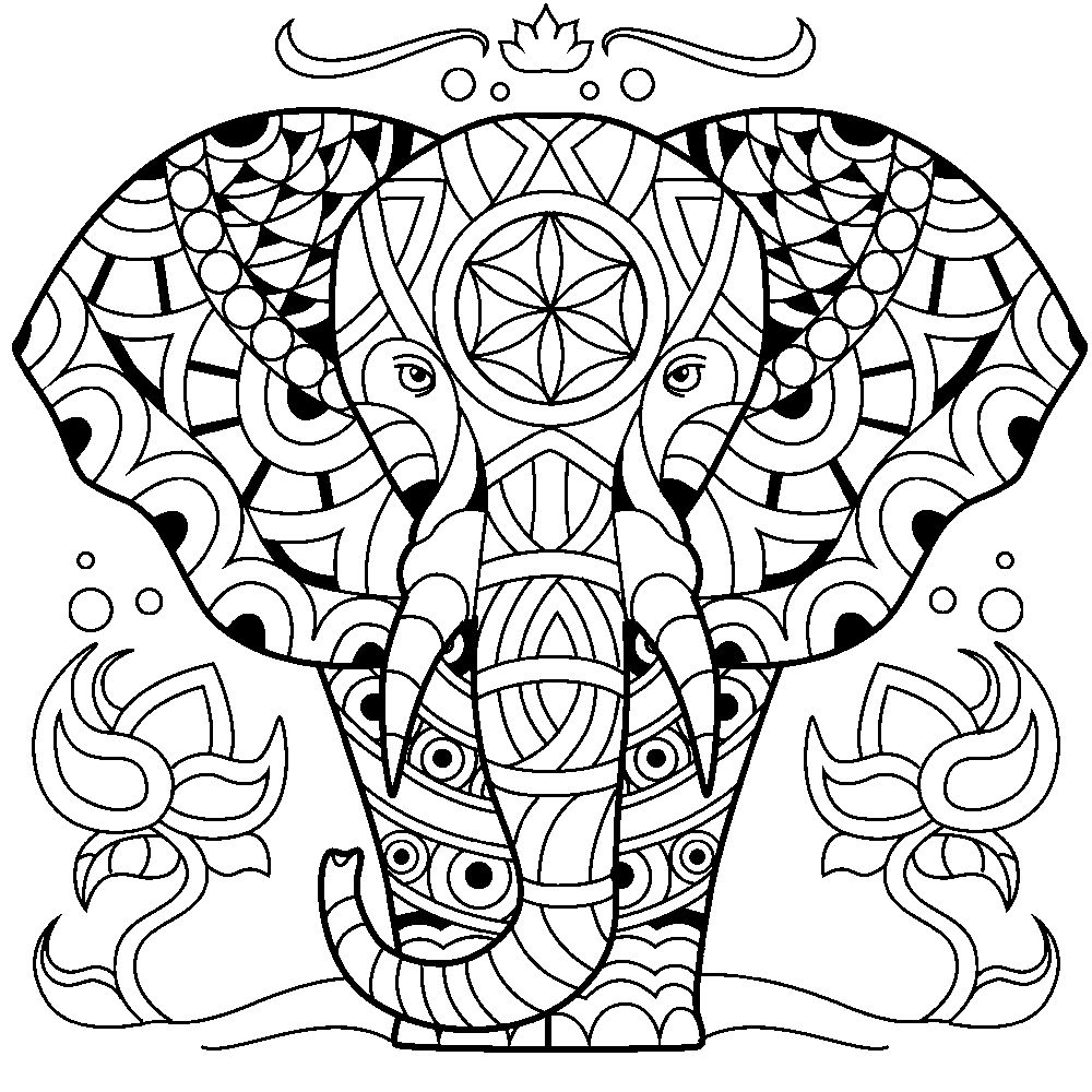 Elephant | Coloring Book for Me App | Elephant Coloring Pages for ...