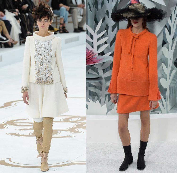 Karl Lagerfeld Chanel Zweiteiler Orange Pantone Farbe 2015 Promis