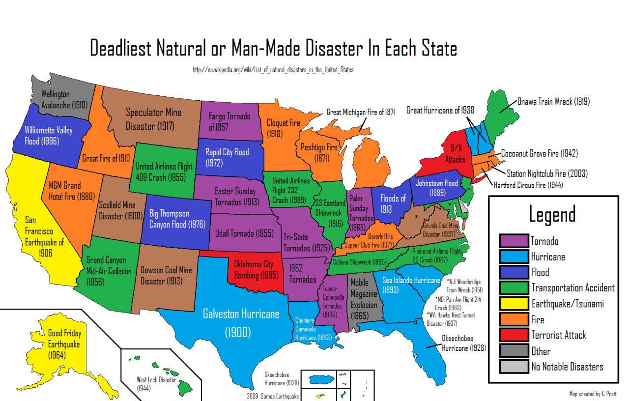 Man In The United States Map.Deadliest Natural Or Man Made Disaster In Each Us State Maps