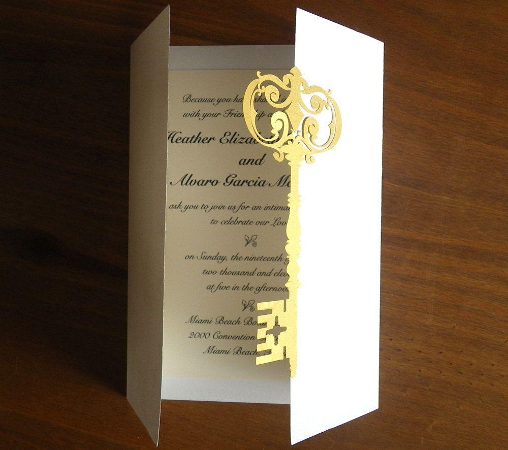 Wedding Invitations Set With Vintage Key To My Heart Deposit Papercut By Mamatita Key Themed Weddings Wedding Invitations Wedding Invitation Sets