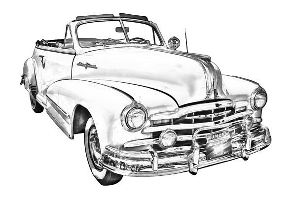 1948 pontiac silver streak convertible antique car digital illustration poster print