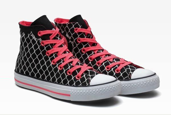High Heel Converse Tennis Shoes | Converse Barbed Wire High Top Black  Canvas Red Shoelace Tennis
