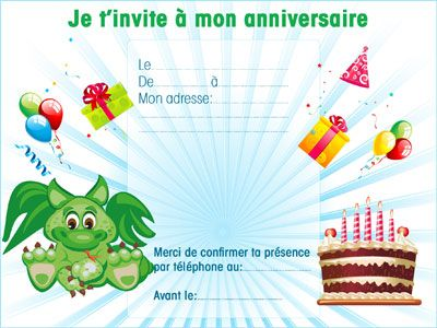 invitation anniversaire gratuite a imprimer dragon 10 invitations anniversaire animaux 123. Black Bedroom Furniture Sets. Home Design Ideas