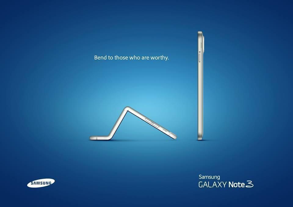 Reclame van Samsung (als antwoord op buigende iPhone 6)