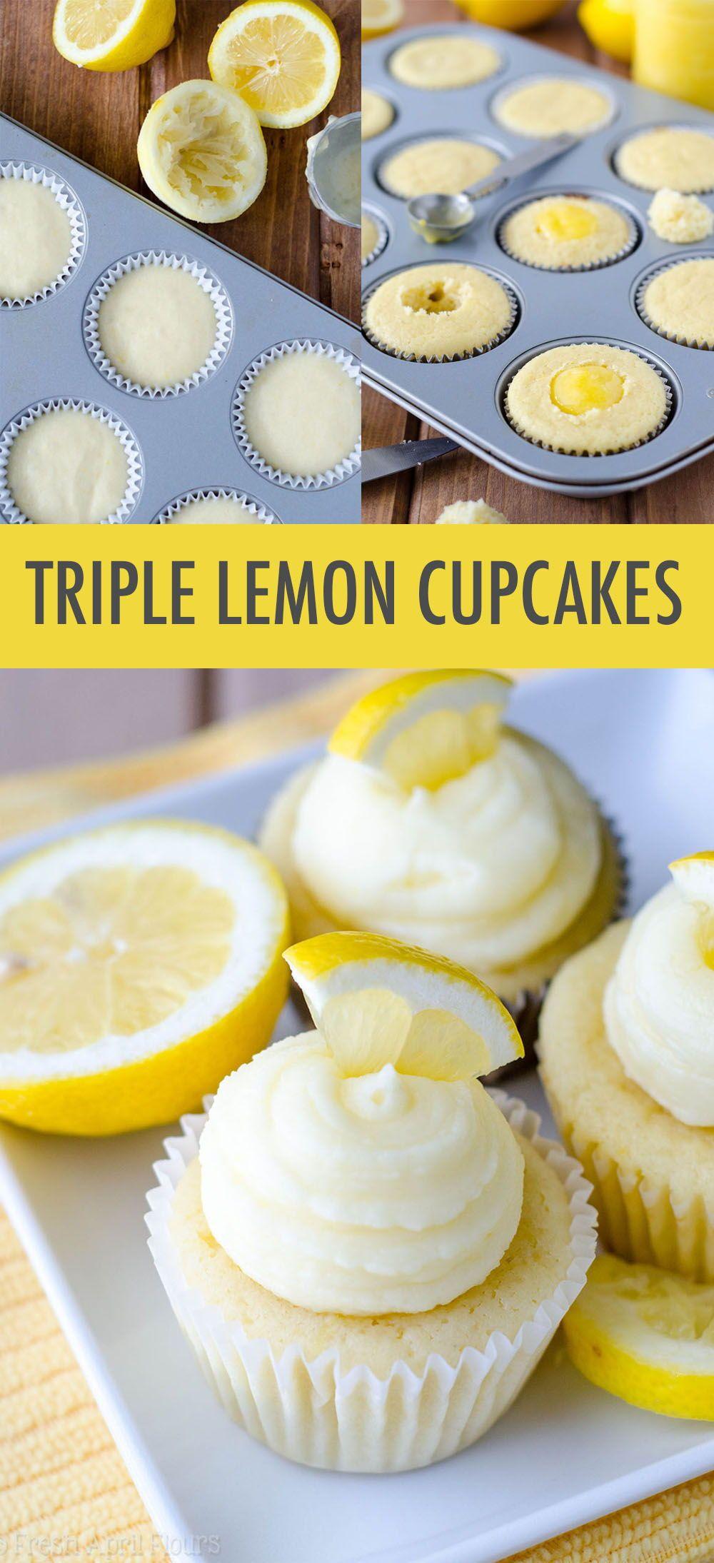 Triple Lemon Cupcakes #lemonfrosting