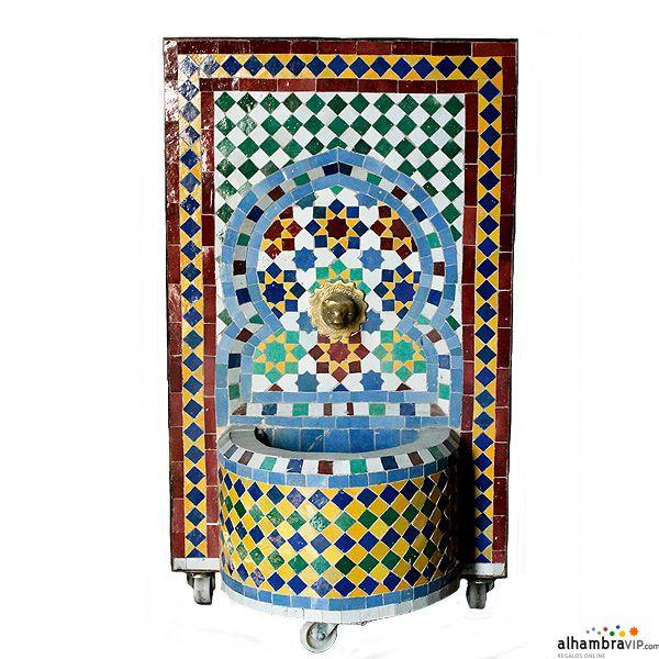 Jardin Arabe: Fuente De Agua Mosaico Amarillo Azul Y Verde