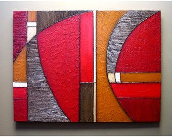 Abstract Painting MODERN Textured Wall SCULPTURE Art Original Acrylic Hanging On Canvas Collage Mixed Media