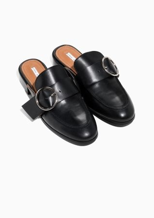 b76e22f7d39   Other Stories image 2 of Buckle Leather Slip In Loafers in Black ...