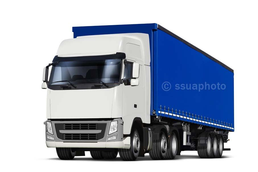 Truck And Curtainsider Semitrailer With Canvas Top Isolated On