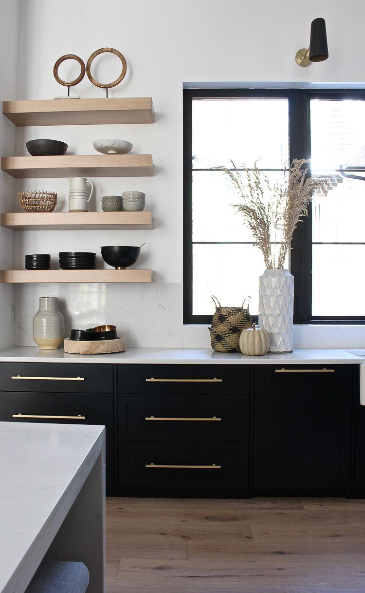 kitchen open shelf styling for fall open shelving shelves kitchen shelves on kitchen decor open shelves id=13372