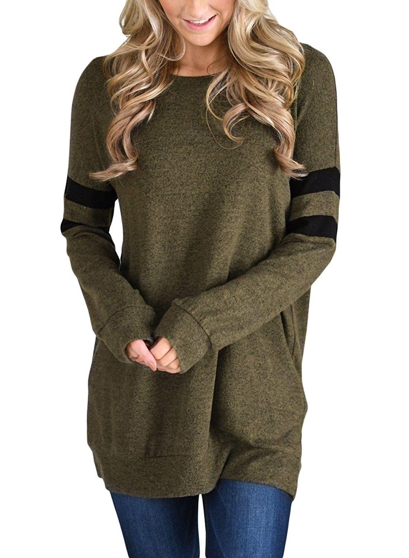 186b7fed3 Womens Lightweight Color Block Long Sleeve Sweatshirt Tunic Tops - Olive -  C41883UQCA4,Women's Clothing, Hoodies & Sweatshirts #women #fashion  #clothing ...
