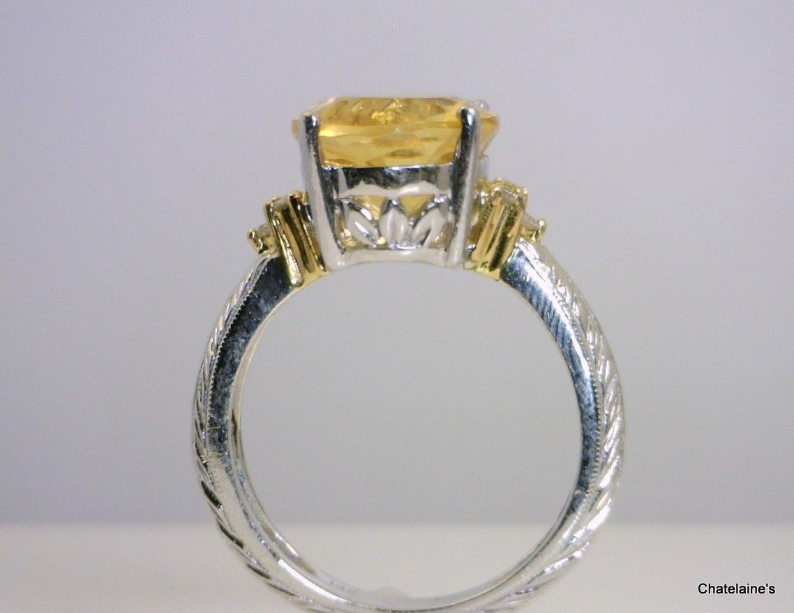 14k White Gold Citrine Ring with Diamond Accents