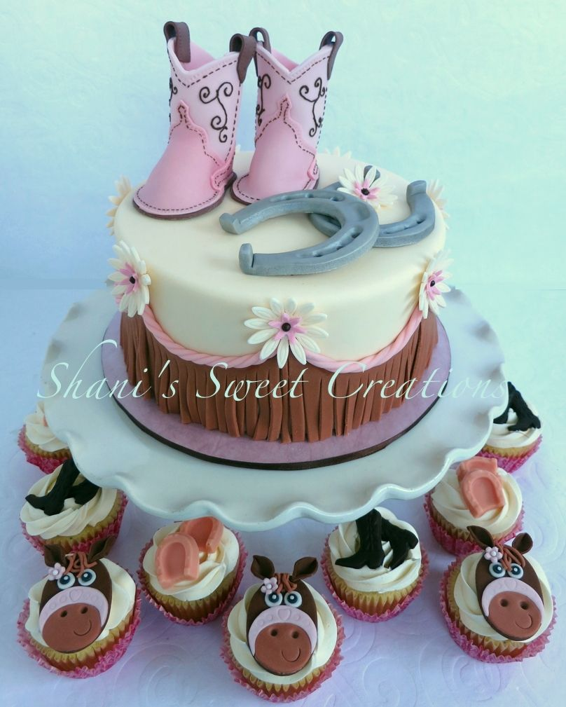 Sweet Baby Shower Cake With Baby Cowboy Boots Horseshoes And Western