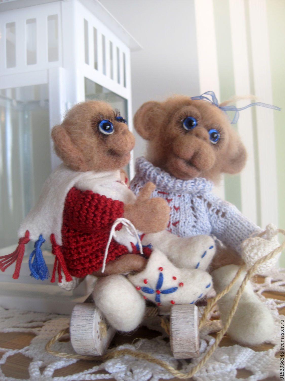 Купить ШИМПАНЗЕ - бежевый, обезьянка игрушка, обезьянки, обезьянка ручной работы, игрушка ручной работы