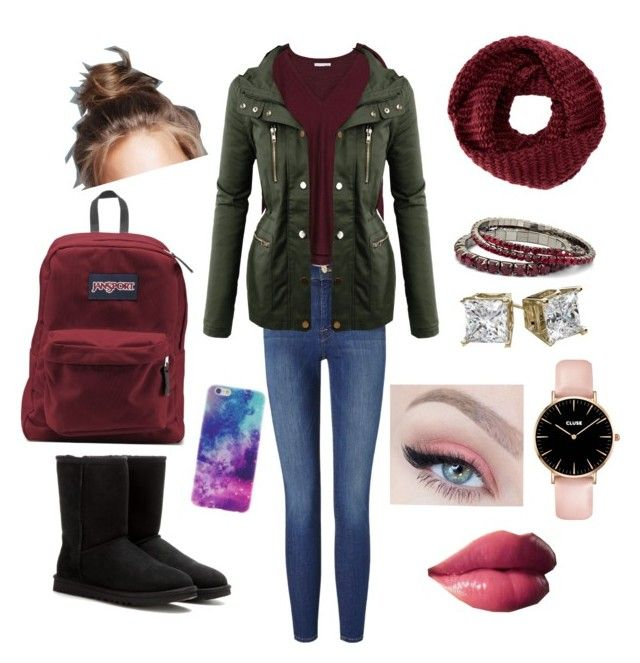 """Outfit for school #1"" by jasmeen-brar on Polyvore featuring Frame Denim, Zara, LE3NO, UGG Australia, JanSport, TOMS, Winter, cold, fallfashion and fall2015"