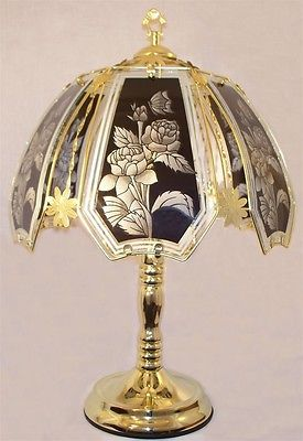 ROSE-AND-BUTTERFLY-BLACK-24-034-GLASS-PANEL-POLISHED-CHROME-FINISH-TOUCH-LAMP-NEW