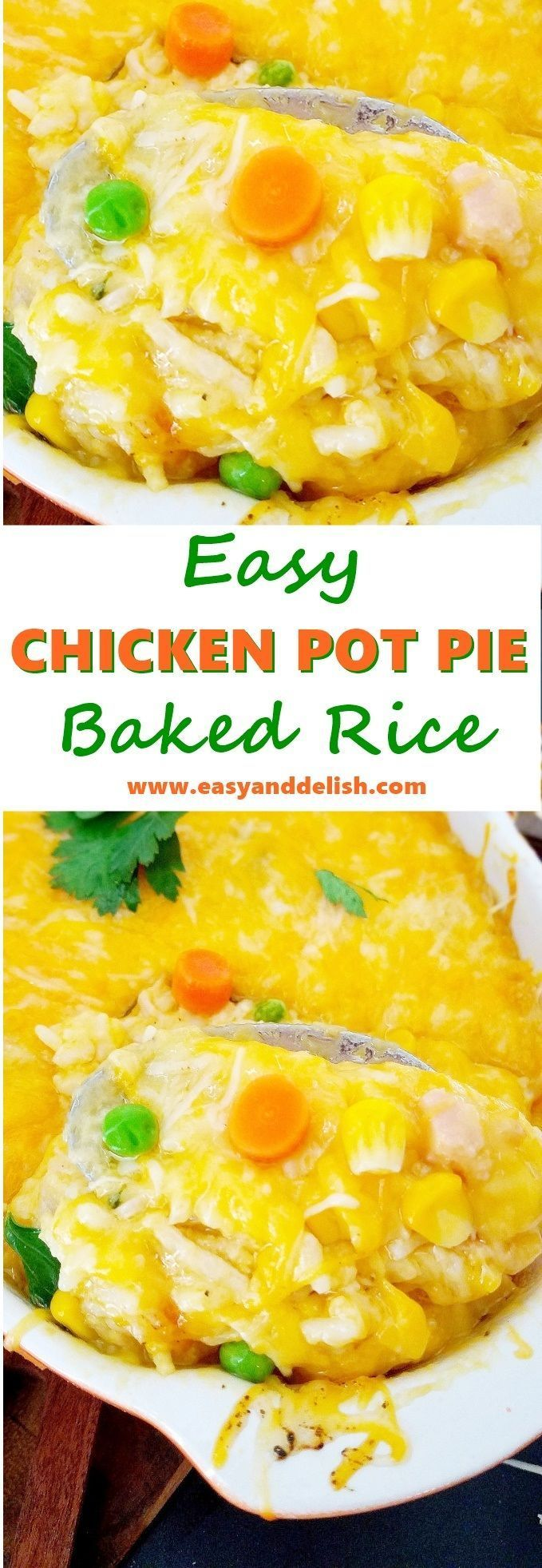 Pot Pie Baked Rice A quick and easy Chicken Pot Pie Baked Rice casserole made with pantry staples within about 30 minutes.  It has all the comforting flavors of the classic dish but without the pie crust.A quick and easy Chicken Pot Pie Baked Rice casserole made with pantry staples within about 30 minutes.  It has all the comforting flavors of the cla...Chic