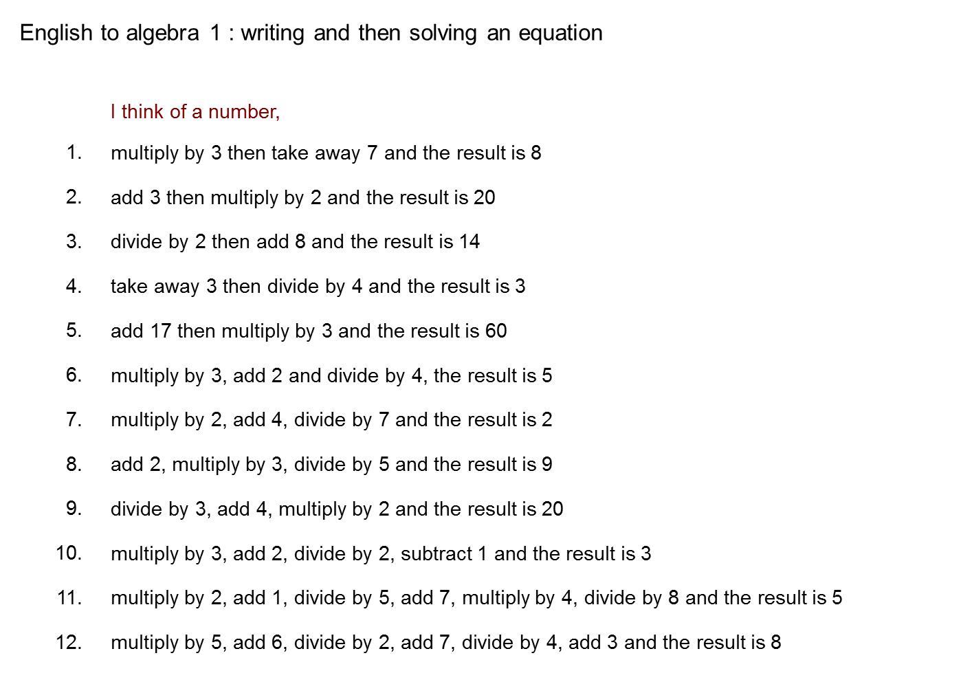 sentence to equation practice | equations lesson ideas | pinterest