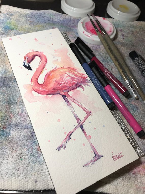 Pink Flamingo Watercolor Original Painting, Flamingo Art by Olga Shvartsur, Flamingo Portrait, Tropical Birds Illustration