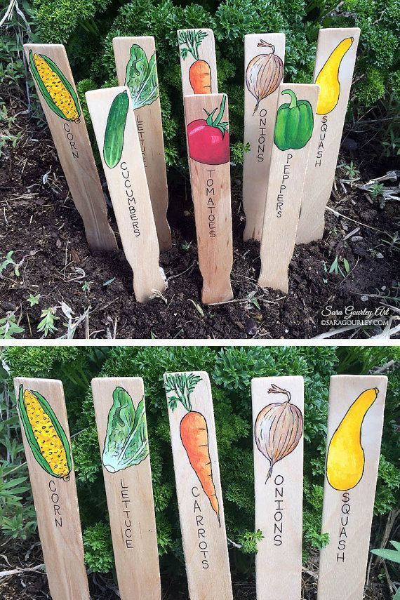 Photo of Hand Painted Garden Signs, Plant Markers, Handmade Garden Markers, Plant Labels, Vegetable Signs, Gift for Gardener, Mother's Day Gift – Derin&Father'sDay