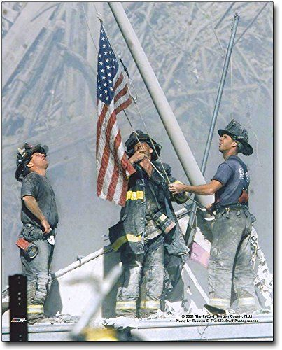 New York Firefighters Raising Flag At Ground Zero 9 11 16x20 Silver Halide Photo Print Firefighter We Will Never Forget America