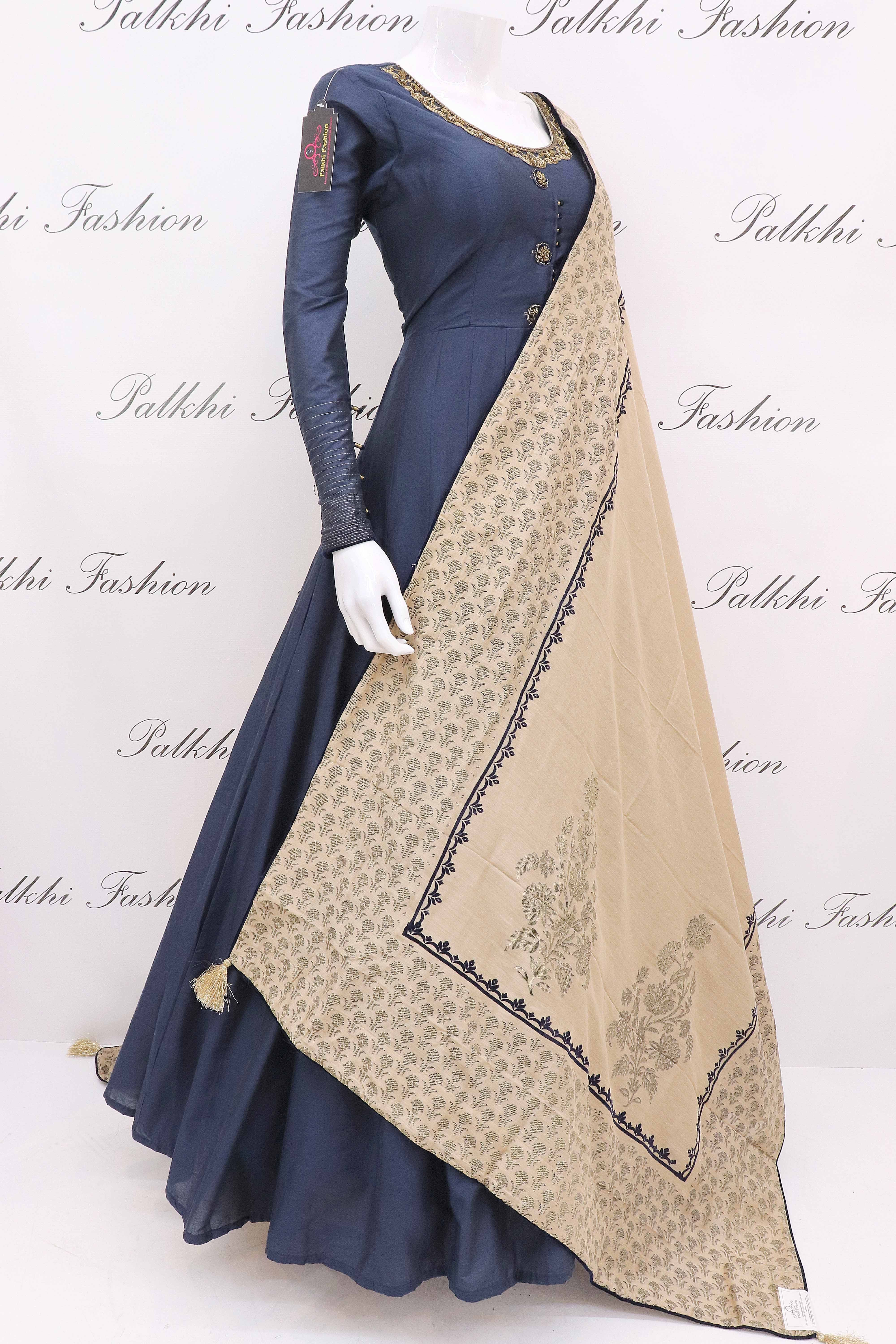 Blue soft silk designer outfit with gorgeous pashmina silk duppata