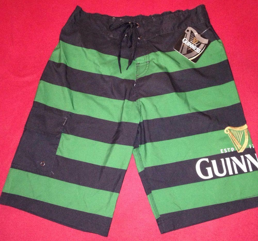 ead3c186c3 Guinness Beer Swim Trunks Green Black Striped Irish Beer Surf Board Shorts  Small #Guinness #BoardShorts #swimtrunks #irishwear