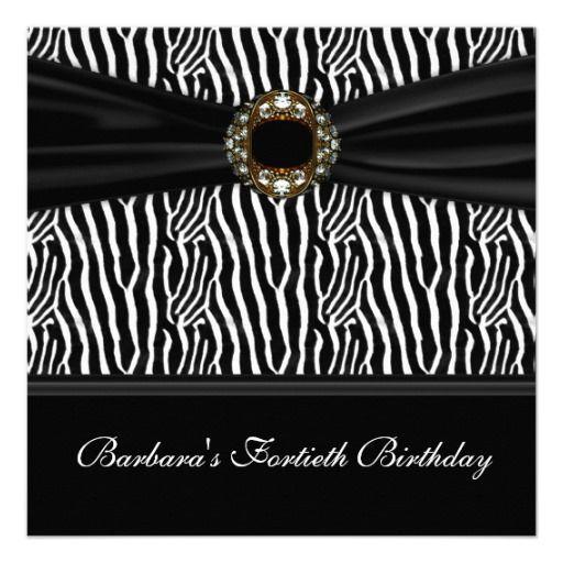 Luxurious zebra jewel womans 40th birthday party personalized luxurious zebra jewel womans 40th birthday party personalized invitations stopboris Images