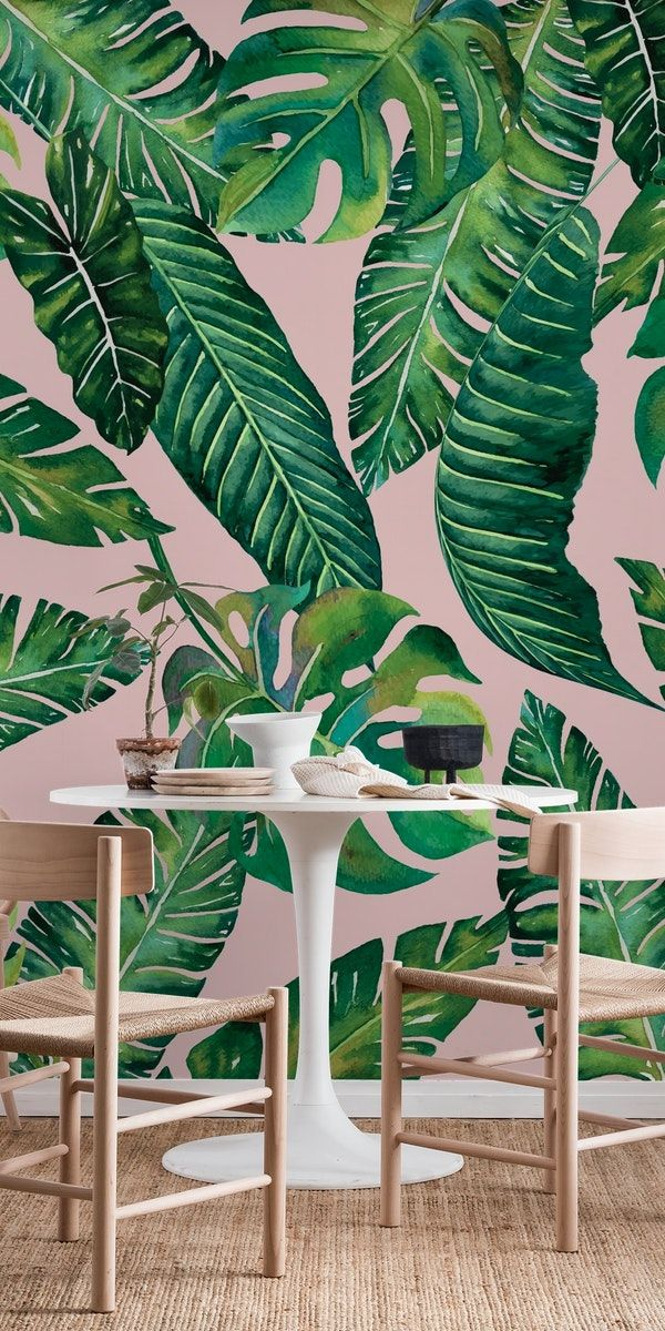 Jungle Leaves Monstera Pink Wall mural in 2020 Pink