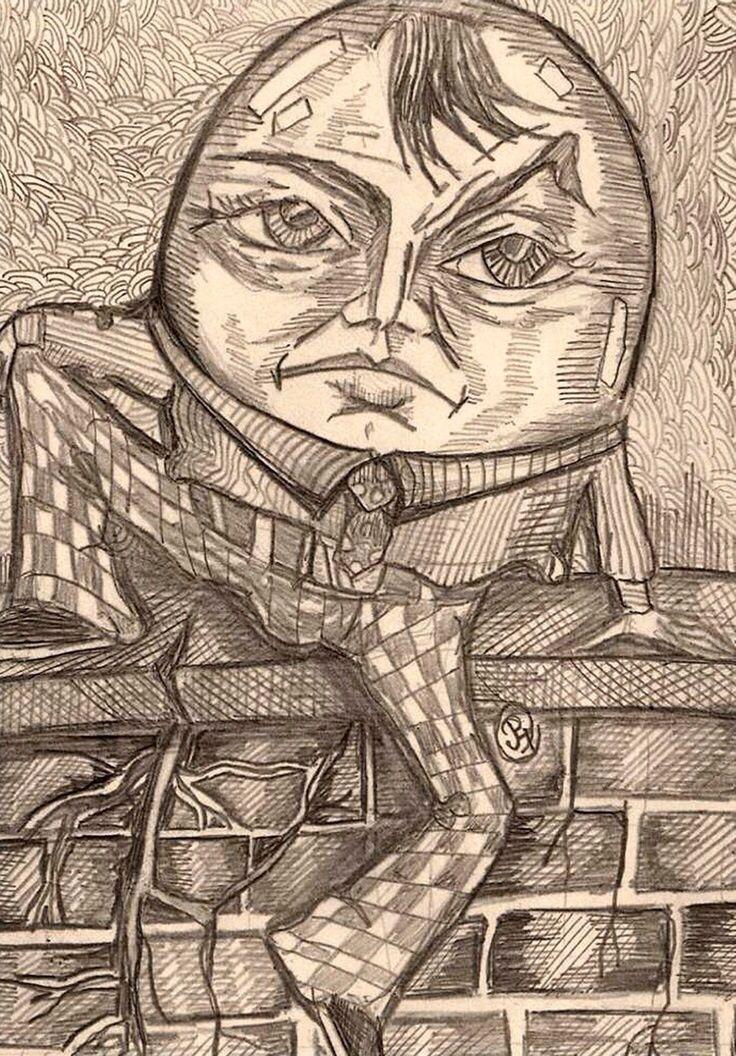 Drawing Of Humpty Dumpty Sitting On A Wall Art Fantasy