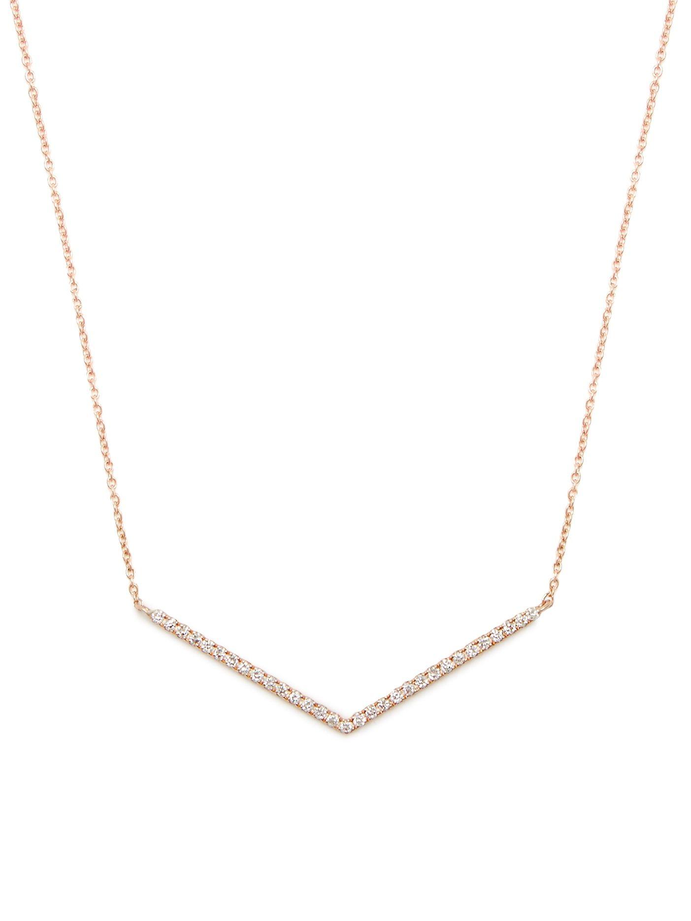Diane Kordas Diamond & rose-gold Chevron necklace DCiVI