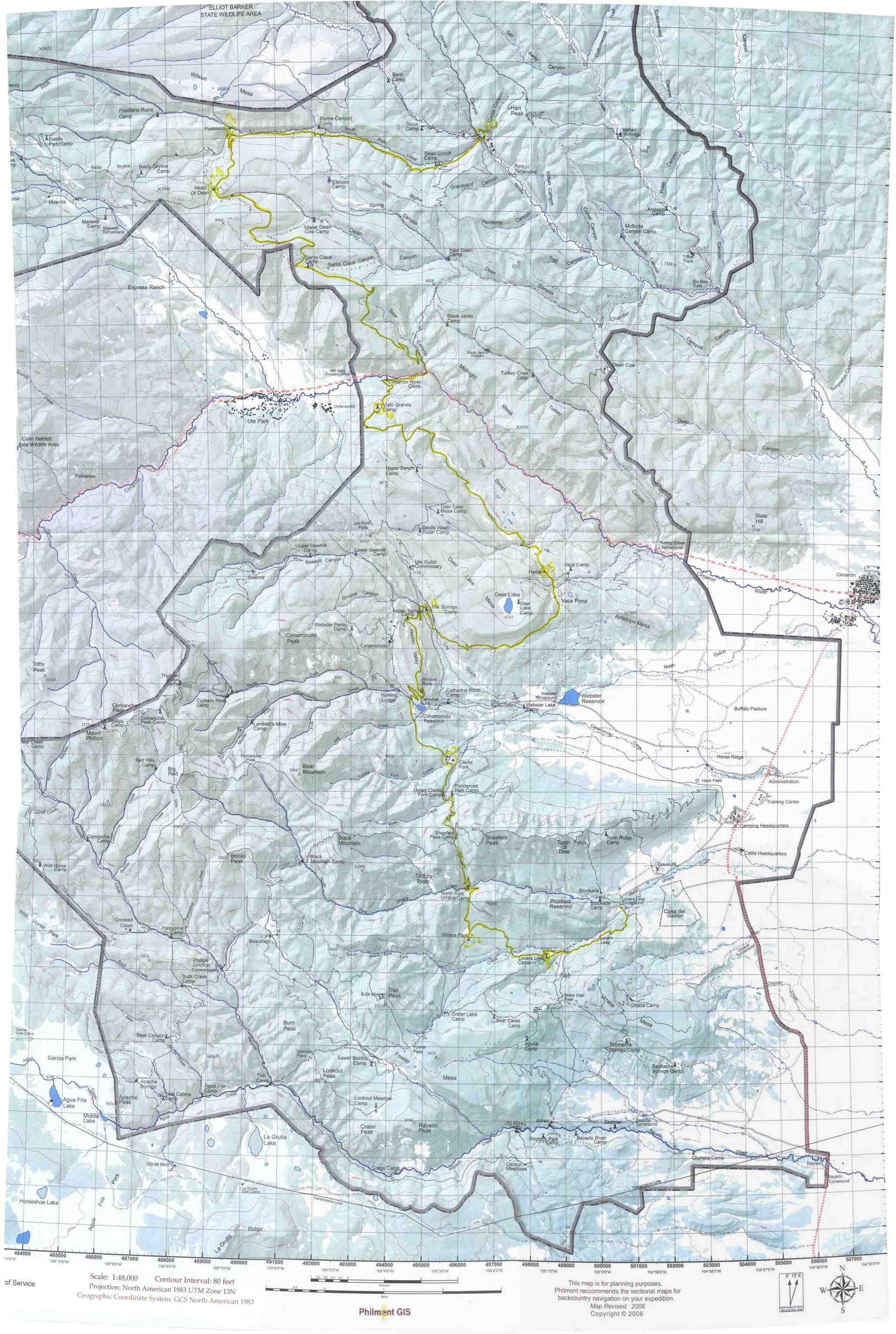Philmont New Mexico Map.Philmont Trek 20 Map Maps Pinterest Map Trek And Trail