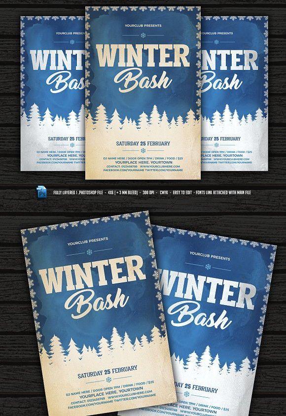Vintage Winter Bash Flyer Flyer Templates $800 Flyer Templates