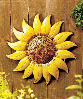 Giant Indoor/Outdoor Metal Sunflower Wall Hanging Fence Garden ...