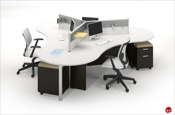 Picture Of Milo Cluster Of 3 Person Cubicle Office Desk